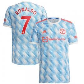 Camiseta Ronaldo 7 Manchester United Segunda Equipación 2021/2022 Niño