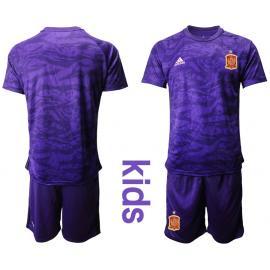 Camiseta España Portero en Púrpura 2020 Edición Copa De Europa Nino